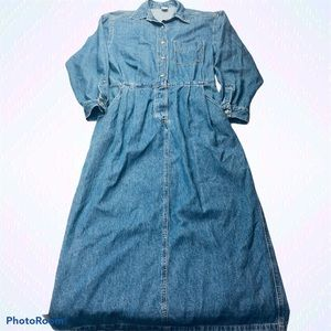 Lands' End Vintage Denim Maxi Blue Jean Dress